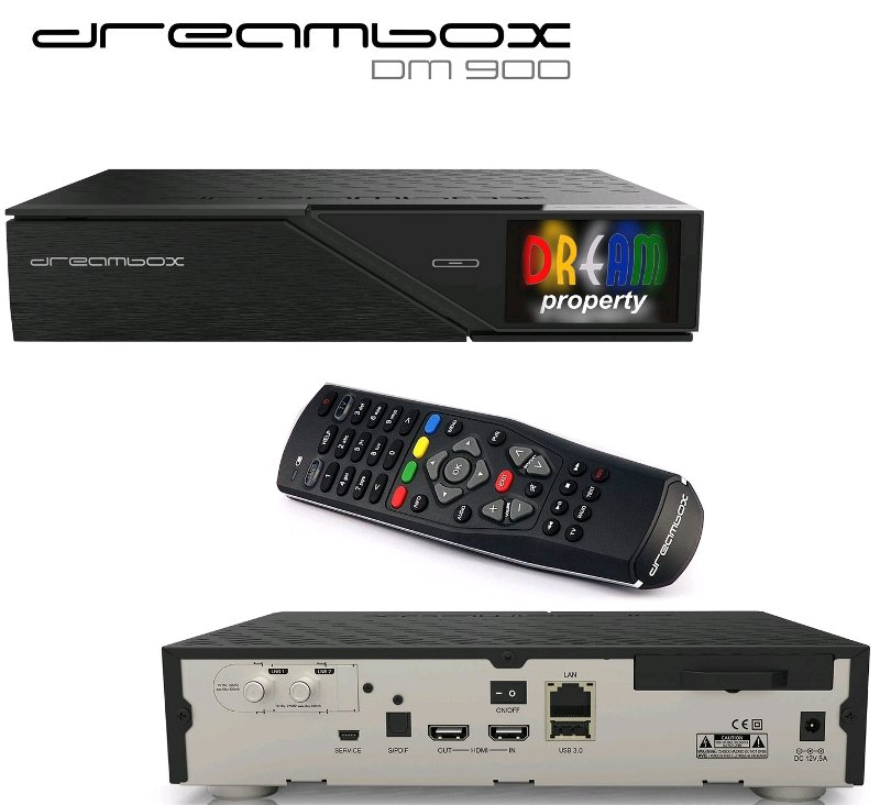 Dreambox DM900 UHD 4K 1x Dual DVB-C/T2 Tuner E2 Linux PVR Receiver