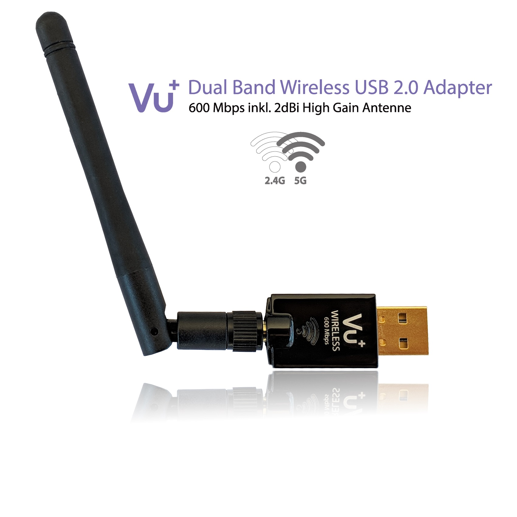 VU+ Dual Band Wireless USB 2.0Adapter 600Mbps inkl Antenne