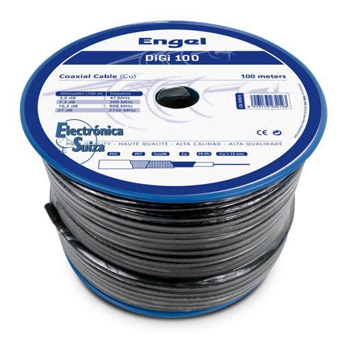 Cable Coaxial Bobina 100m DIGI100-Negro